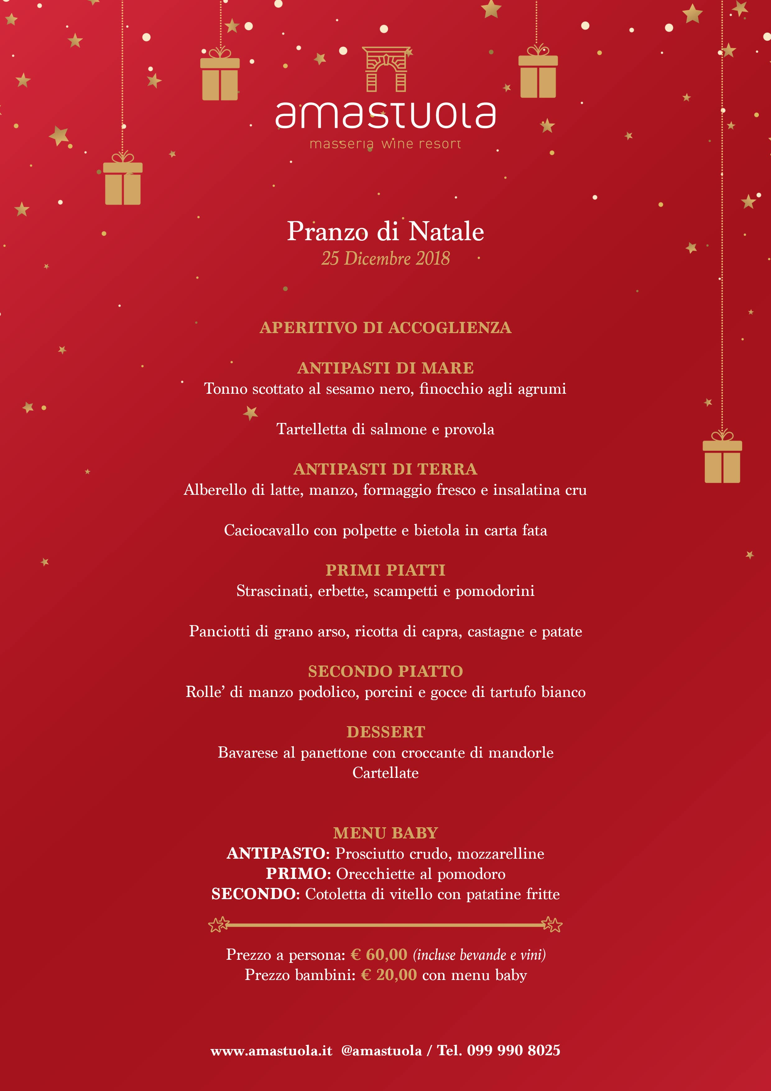 Menu Per Il Pranzo Di Natale 2019.Eventi Natale 2018 A Masseria Amastuola Amastuola